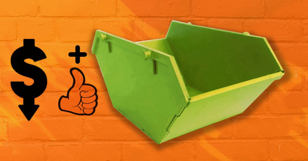 Green skip on an orange background. Thumbs up symbol and dollar symbol.