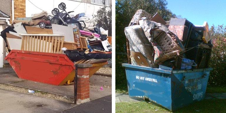 Two overloaded skip bins full of household rubbish.